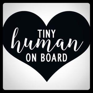 Tiny human on board car window decal